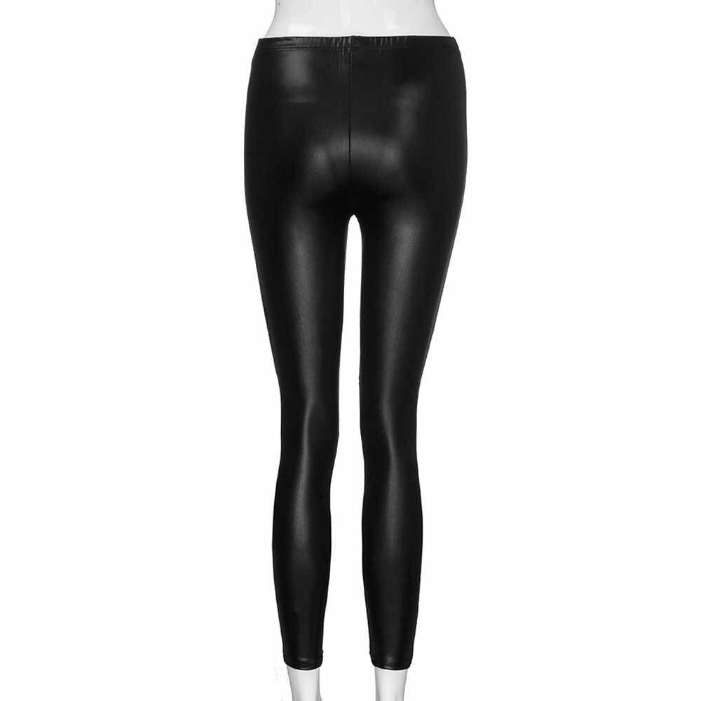 Mulheres Zíperes PU Perneiras De Couro de Cintura Alta Elasticidade Magro Calças Compridas Sensuais Push Up Skinny Leggings Calças de Fitness #10