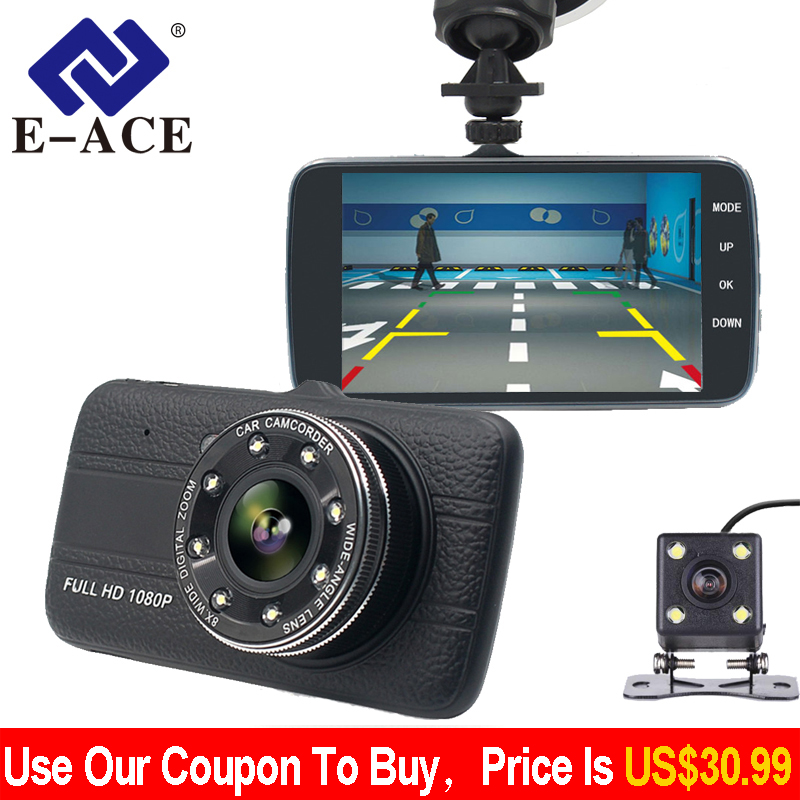 E-ACE Car Dvr Camera 4.0 Full HD 1080P Dash Cam Auto Registrator Dual Lens Night Vision With Rear View Mirror Video Recorder цена
