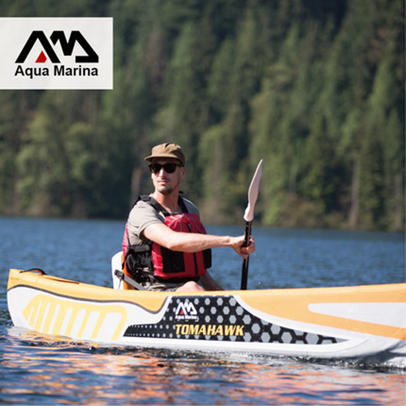 Aqua Marina TOMAHAWK Inflatable Kayak Boat Canoe Pvc Dinghy Raft Aluminium Paddle Pump Seat Pressure Gauge Drop-stitch Laminated