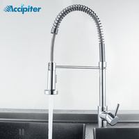 2 Function Spring Brushed Nickel Kitchen Faucet Single Handle Pull Out Kitchen Mixer Tap Rotate Chrome Mixer Faucet for Kitchen