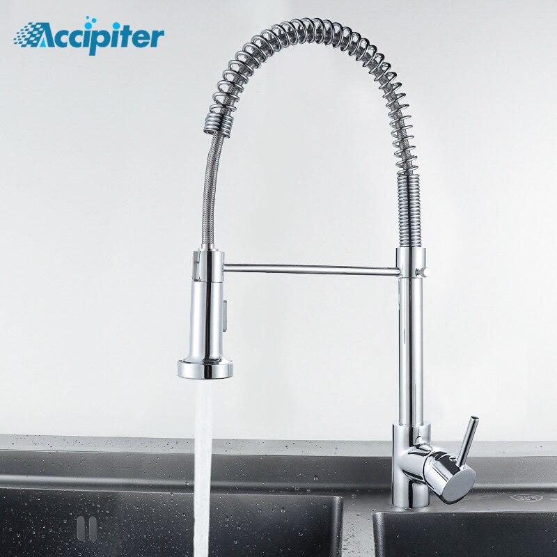 Robinet de cuisine en Nickel brossé à ressort à 2 fonctions robinet mitigeur de cuisine à poignée unique robinet mitigeur chromé à rotation pour cuisine