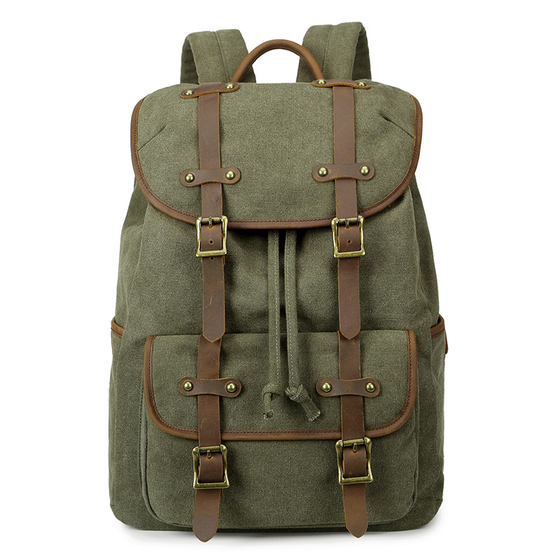 M208 New Vintage Leather military Canvas backpack Men backpack School Bag 15 Inchs Laptop Backpack Women Bagpack Male Rucksack zuoxiangru vintage canvas women men backpack army style notebook men rucksack military 15inch laptop school backpacks women