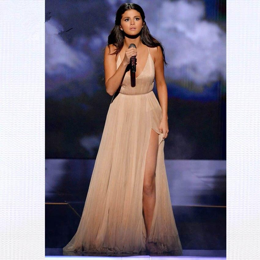 Us 864 10 Off2019 Selena Gomez Szampana Krepa Dekolt W Szpic Split Z Powrotem Krzyż Długi Czerwony Dywan Sukienka Celebrity Sukienki Vestidos W