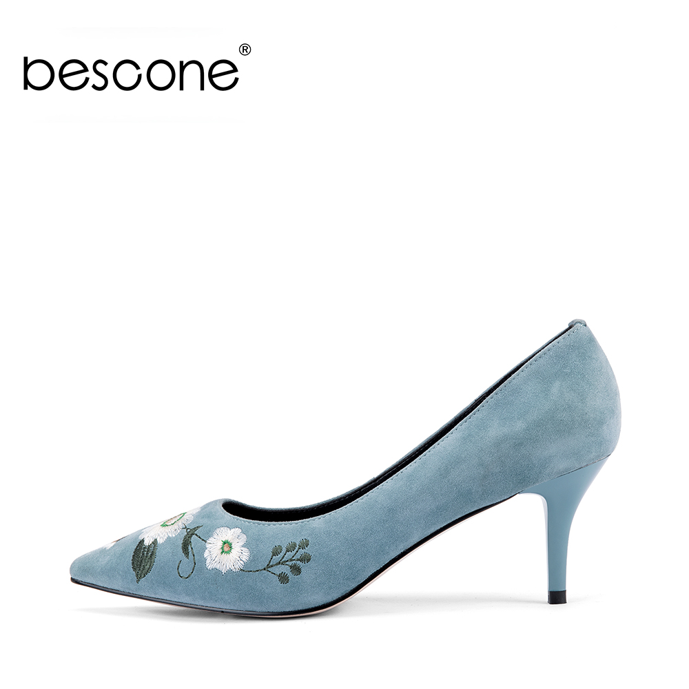 BESCONE Embroider Thin Heels Pumps 2018 New Autumn Classics Pointed Toe Daisy Kid Suede Dress Casual