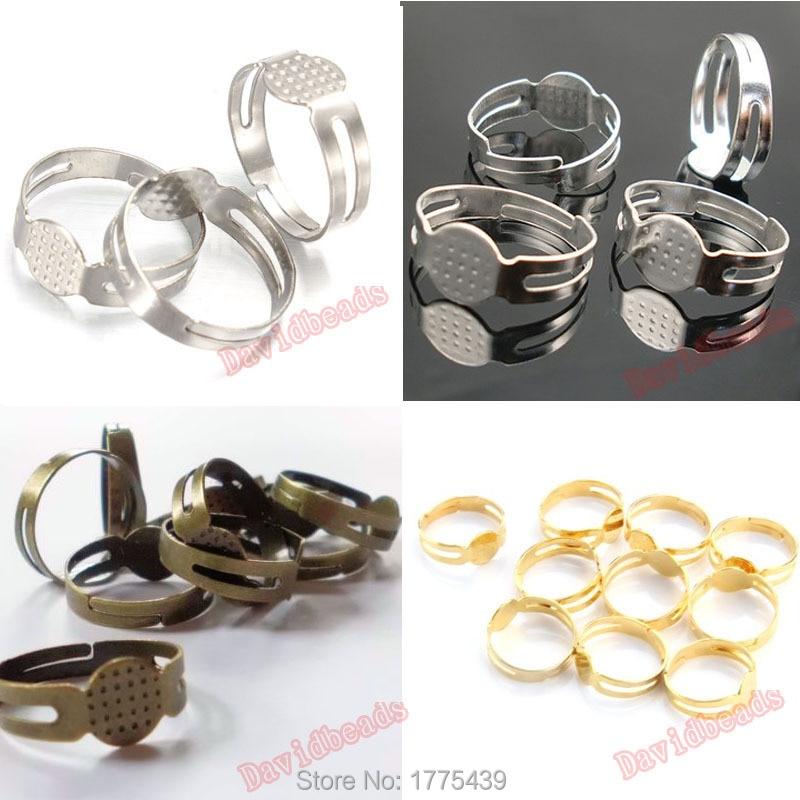50 Ring Blanks BULK Findings Ring Setting Antiqued Copper Brass Adjustable Rings