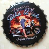 SEMAINE de VÉLO Grand Couvercle de La Bière Plaque En métal Plaque Logo En Métal de Cru peinture Mur Autocollant Fer Inscrivez-bar KTV Magasin Décoratif 40X40 CM