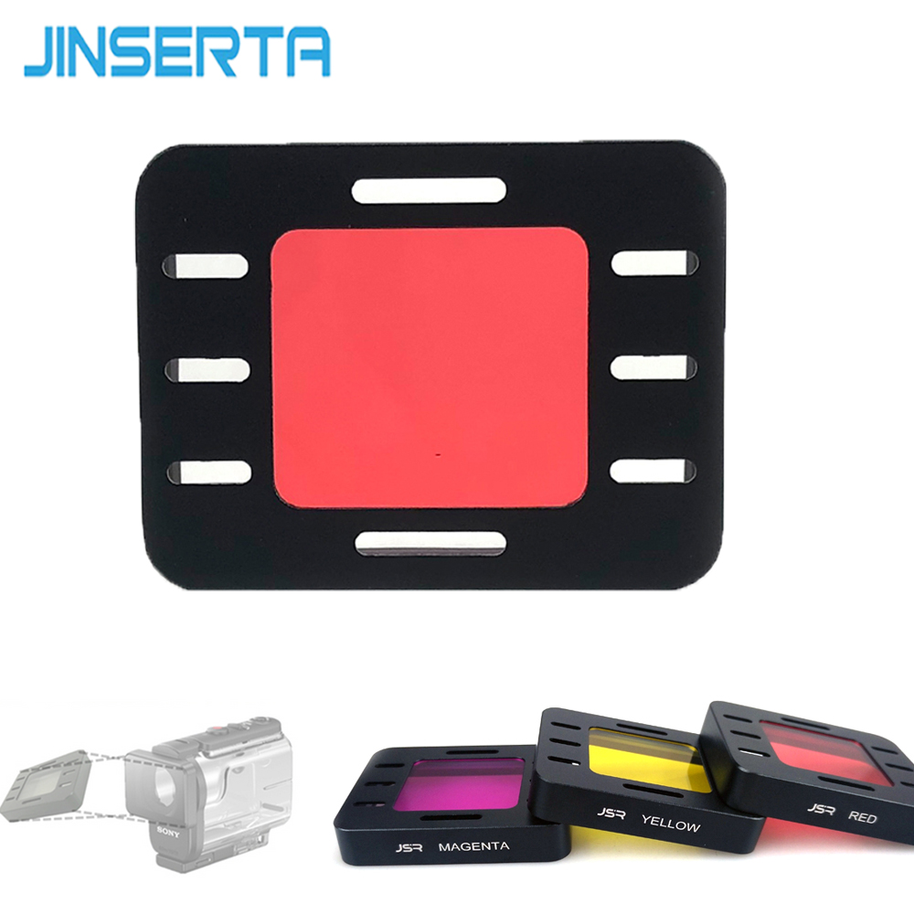 JINSERTA Dive Filter Yellow Red Magenta for <font><b>Sony</b></font> AS50 Underwater Diving Lens Cover for <font><b>Sony</b></font> <font><b>HDR</b></font> AS50R AS300 <font><b>AS300R</b></font> FDR X3000R image