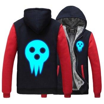 Anime Soul Eater MAKA ALBARN Coat hooded hoodie feece jacket Cardigan Soul Eater Black Star thick Noctilucent hoodie jacket фото