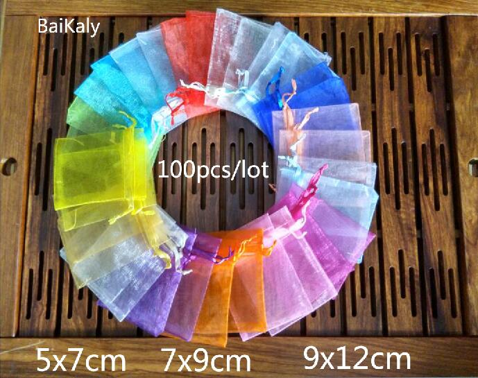 100pcs/lot Organza Bag  5x7cm/ 7x9cm/ 9x12cm  Wedding Christmas Birthday Party Gift Bags A Variety Of Solid Colors Pouchs(China)