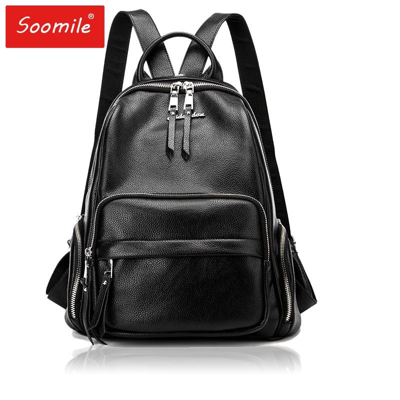 Brand New Women Backpack Genuine Leather Tassel Shoulder Bag Backbag Female Cow Leather + PU School Bag Girl Travel Bag Mochila цена