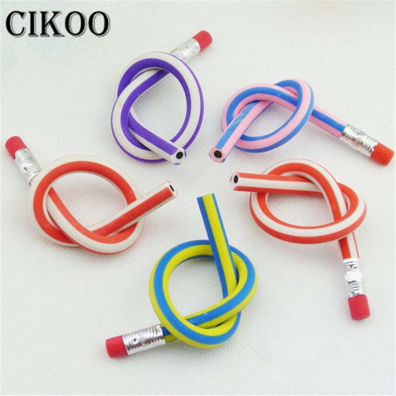 CIKOO Funny Kid Skill Training Drawing Pencil Soft Flexible Bendy Pencil With Eraser Kid Child Toy Gifts