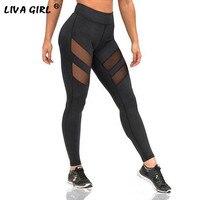 Sıcak Satış Hollow Out Tayt Kadın Spor Leggins Sweatpants Artı Boyutu Siyah Seksi Mesh Legging femme Pantolon