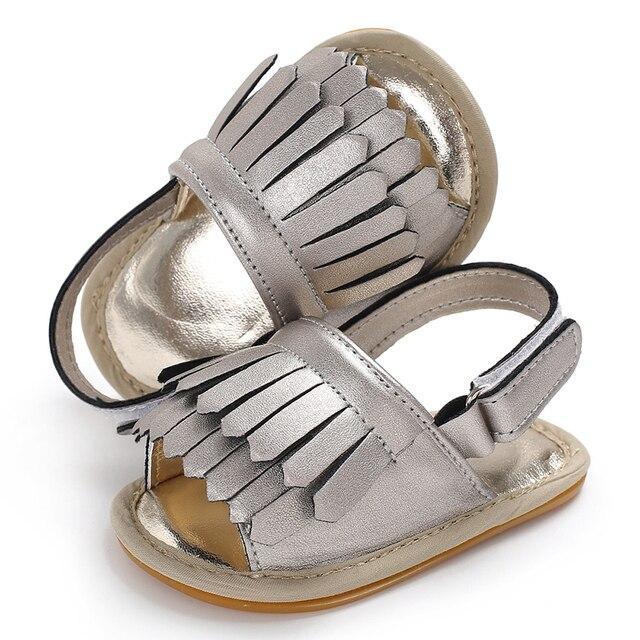74116317797 Sandalias del bebé con borla para recién nacido Niño verano Zapatos  antideslizante suela de goma zapato