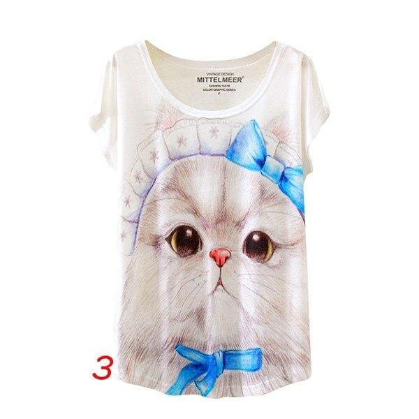 HTB1ZDbpNFXXXXXJaXXXq6xXFXXXF - Fashion Summer Animal Cat Print Shirt O-Neck Short Sleeve
