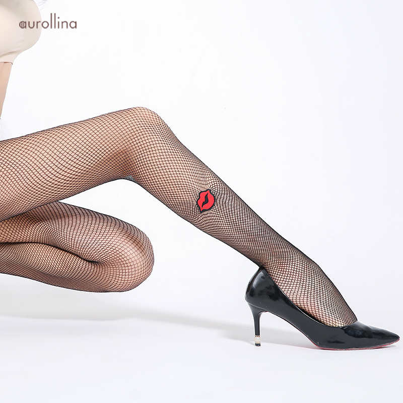 Hickey Embroider Stocking Tights Flower Jacquard Pantyhose Red Lips Tightly Knitted Net Sexy Fishnet Sexy Black Fishnet Tights in Tights from Underwear Sleepwears