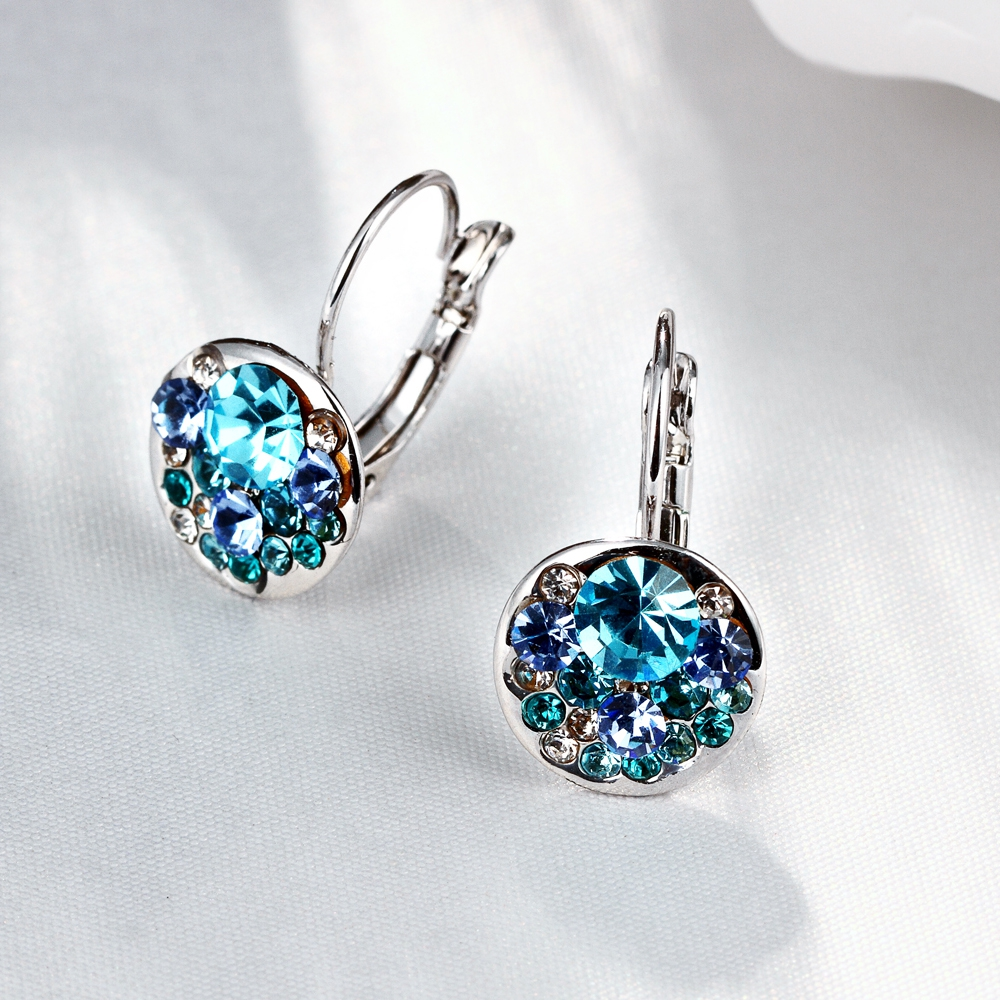LEKANI Eardrop-Earrings Austrian-Elements Swarovski-Heart-Pendant Women Made Crystal title=