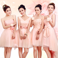 4 Styles Strapless Pink Wedding Party Dresses/Pink Short Bridesmaid Dresses/cheap bridesmaid dresses under 50