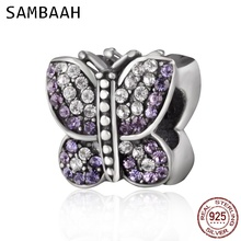 Sambaah Sparkling Butterfly Charm with Austrian Crystal 925 Sterling Silver Beads fit Pandora Animal Bracelet SS2843