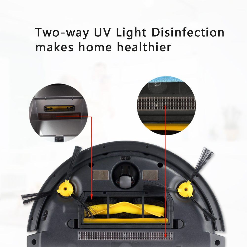 LIECTROUX Robotic Staubsauger B6009, 2D Karte & Gyroskop Navigation, mit Speicher, Niedrigen Wiederholung, virtuelle Blocker, UV Lampe, Nass Mopp