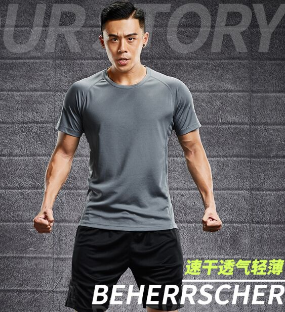 mens summer thin fitness shirt, short sleeves, five points, fast dry shirts, summer adulte grey wear, clothing.