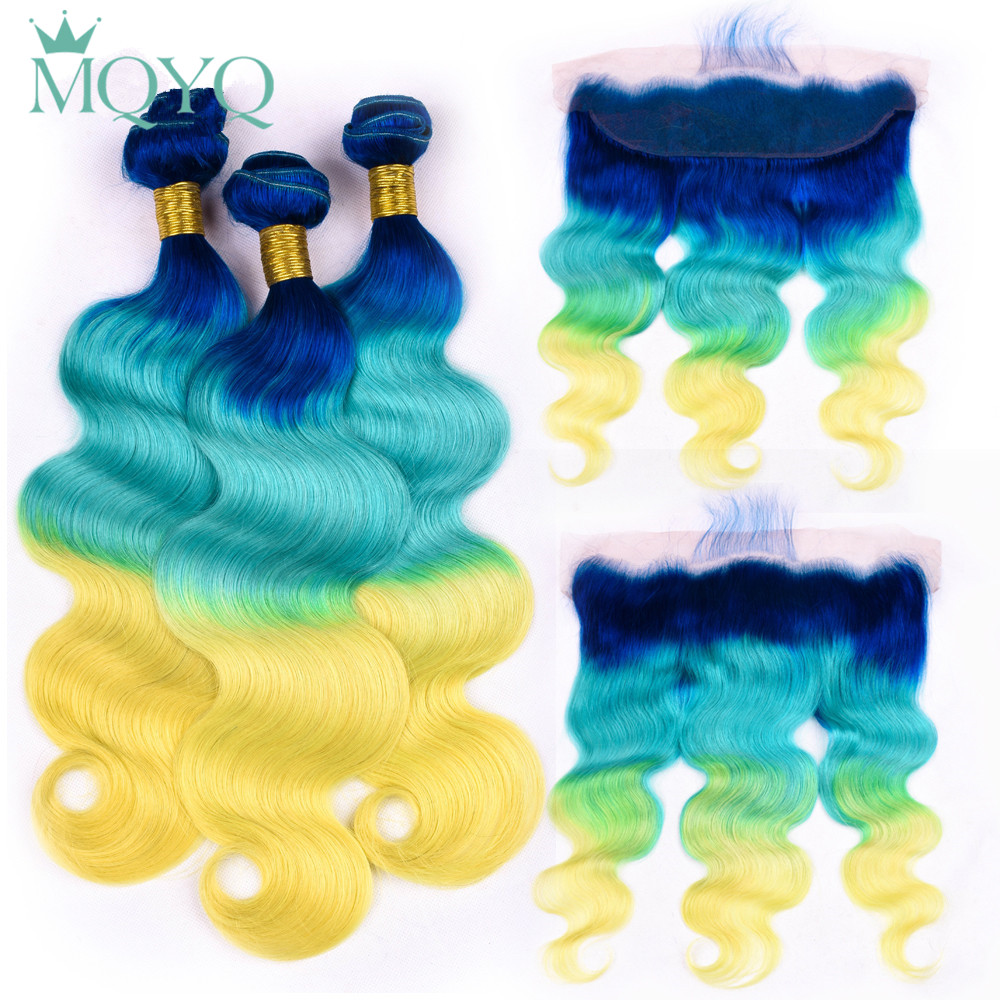 MQYQ Pre Colored Blue Green Yellow Body Wave Human Hair Weave Bundles With Lace Frontal Closure Ombre Brazilian Hair Extensions