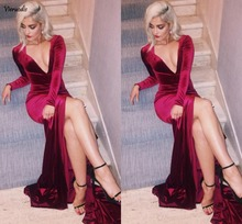 Wine Red Sexy Velvet Evening Dresses Deep V Neck Long Sleeves High Split Custom Made Burgundy Prom Dresses 2017 Cheap Cocktail P burgundy lace details crew neck long sleeves high waisted dresses