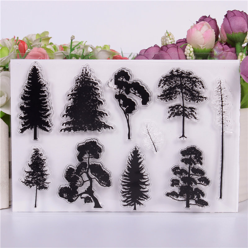 Rubber Silicone Clear Stamps for Scrapbooking Tampons Transparents Seal Background Stamp Card Making Diy Big Tree Forest