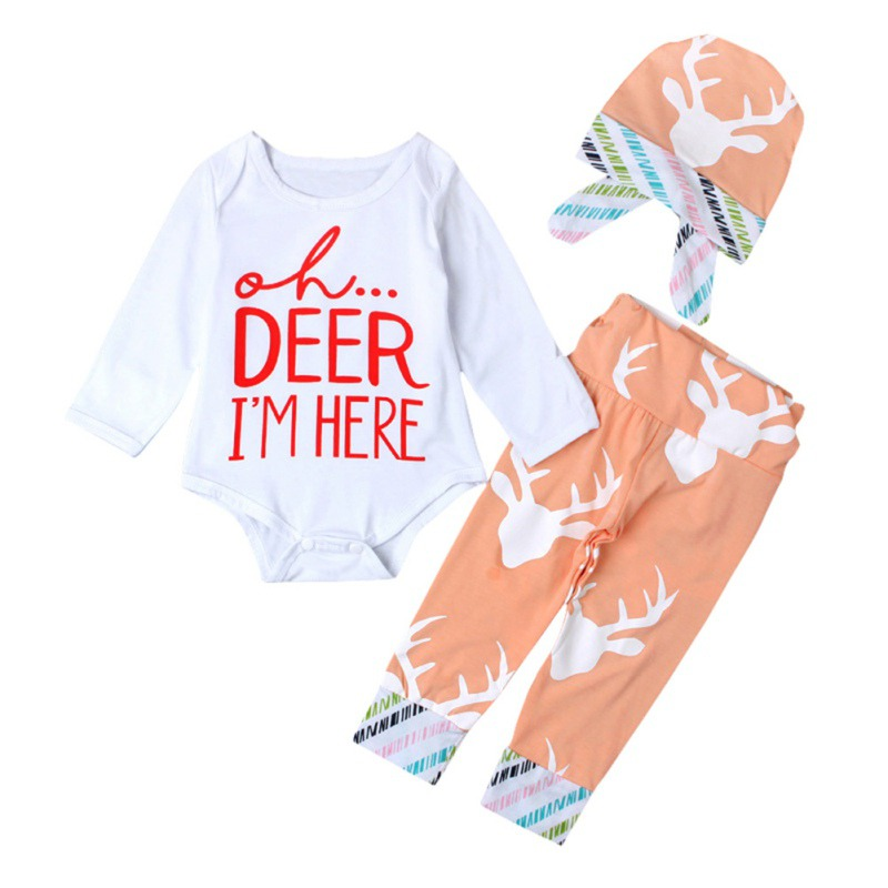 SummerAutumn New Baby Clothing Set Baby Girls Long Sleeve Tops Romper +Long Pants Hat 2Pcs Newborn Baby Girl Clothes Set