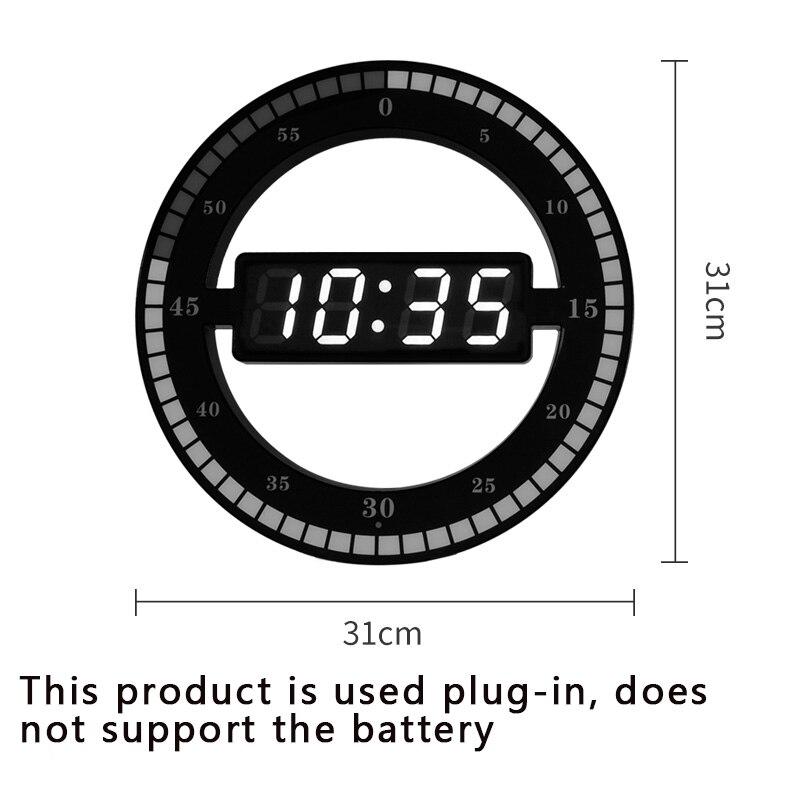 31cm Super LUMINOVA LED Simple Wall Clock Mute Digital Electronic Smart Light Digital Electronic Alarm Clock Room Table Clock