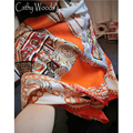 La Beau 100% Real Silk Scarf Women Summer Scarf Orange Gallery Printed Design Scarf Ladies Stole Scarf Big Square Scarves Hot