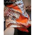 La beau 100% real de la bufanda de seda de las mujeres bufanda del verano de orange galería de Diseño Impreso Bufanda de Las Señoras de La Estola Bufandas Bufanda Cuadrada Grande caliente