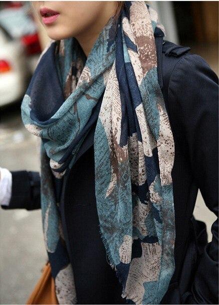 1 ШТ. 80*180 см Новая Мода Зима Горячей продажи большой Цветок Торгует Отпечатано Женщины Хлопок шарф/WJ-163