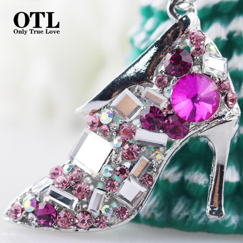 2016 New Fancy Metal High Heel Shoe Model Keychain Keyring Women Crystal High Heeled Rhinestone Keychain Purse Pendant Bags