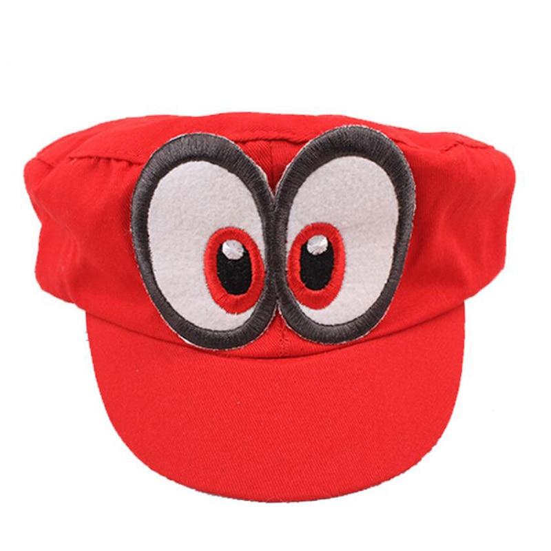2018 Cosplay Super Mario Odyssey  Hat Adult Kids Anime Baseball Caps Unisex Handmade Adjustable Red Hat