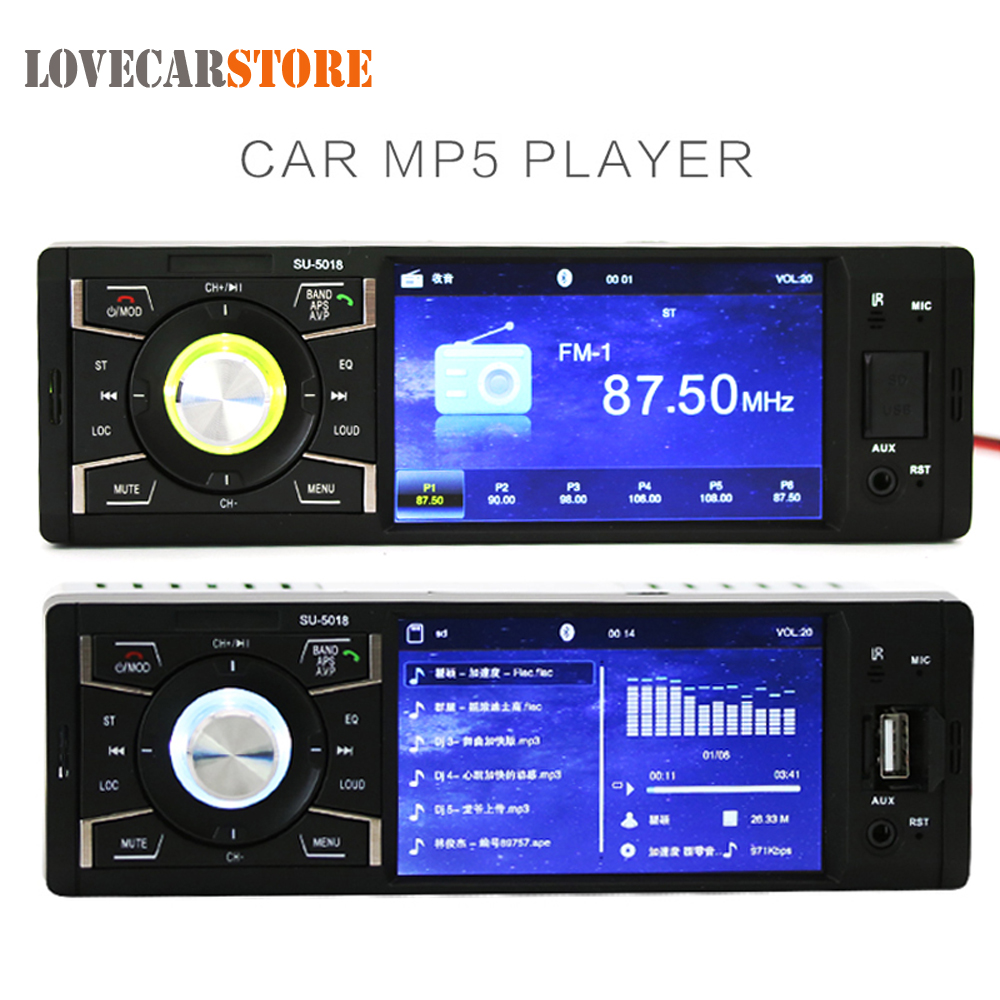 12V 4.1 Inch 1 Din Bluetooth HD Car Stereo Radio Auto Vehicle MP3 MP5 Player Support USB FM TF AUX In + Remote Control цена