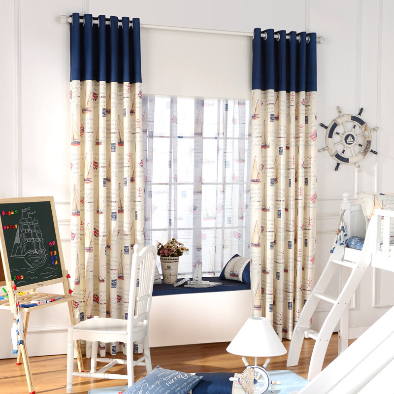 Blackout Curtain Fabrics And Tulle For Boys Bedroom Panel Mediterranean Children  Drapes Baby Home Window Curtains Kids Room