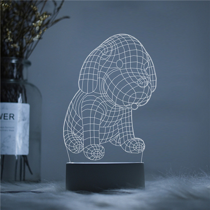 Little Baby Dog Kawaii Cute Bow Meow LED 3D Acrylic Night Lamp Light Luminary With Touch And Remote Lamps Lights Kids Decoration