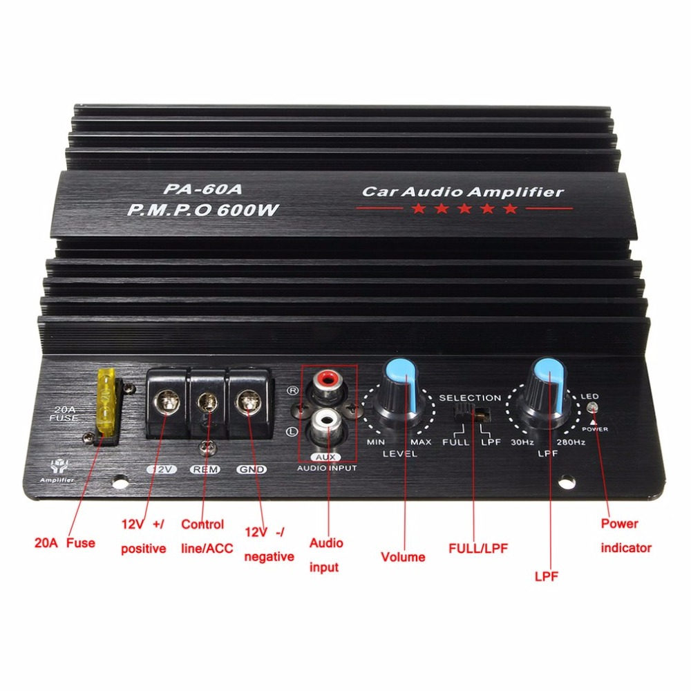 12V Mono 600W High Power Auto Audio Verstärker PA-60A Mode Draht Zeichnung Leistungsstarke Bass Subwoofer Verstärker Mit 20A sicherung