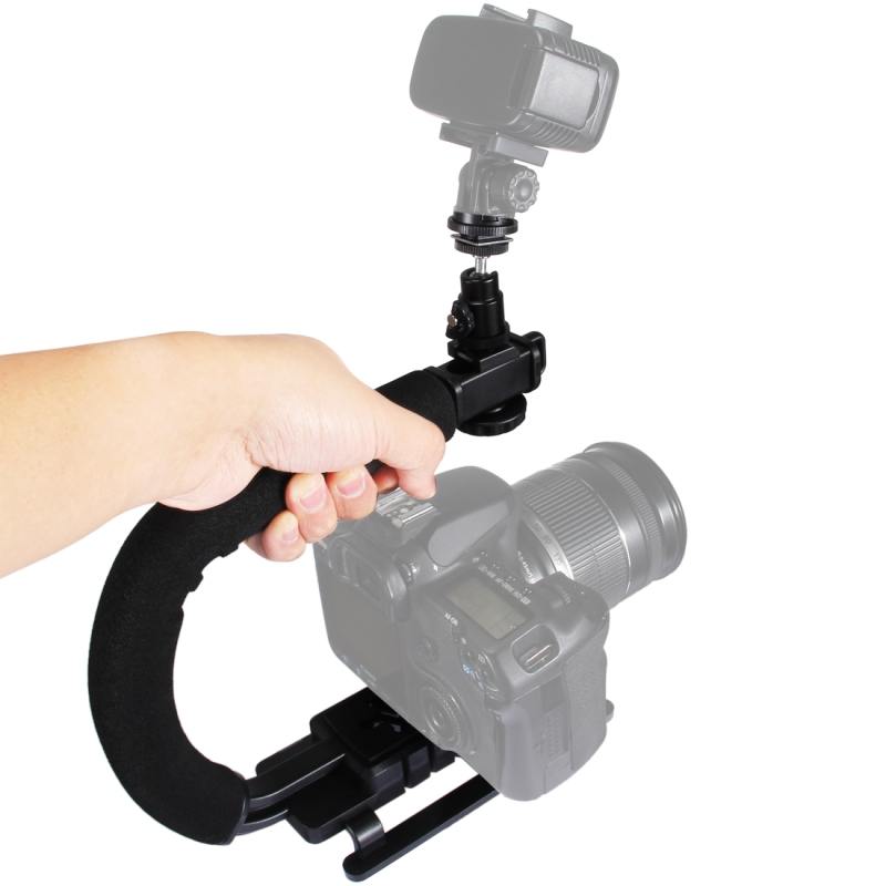 PULUZ DSLR Camera Action Grip 1/4 inch Quick Release Buckle Handle C-shaped bracket Stabilizer for DSLR Cameras Camcorders Phone