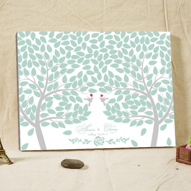 Custom Tree Fingerprint Wedding Guest Book Cartoon Birds Signature ...