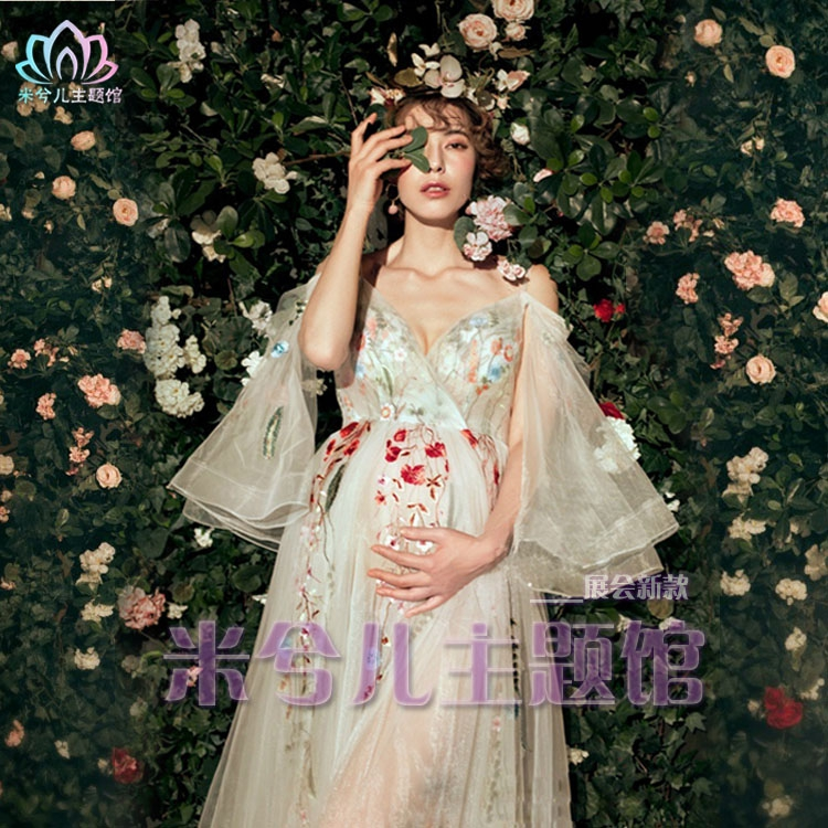 NEW Pregnant Maternity Women Photography Fashion Props Dress Romatic Fancy Baby Shower Free shipping Flower dress maternity pregnant women photography fashion props long dress white romatic see through personal portrait nightdress size s l
