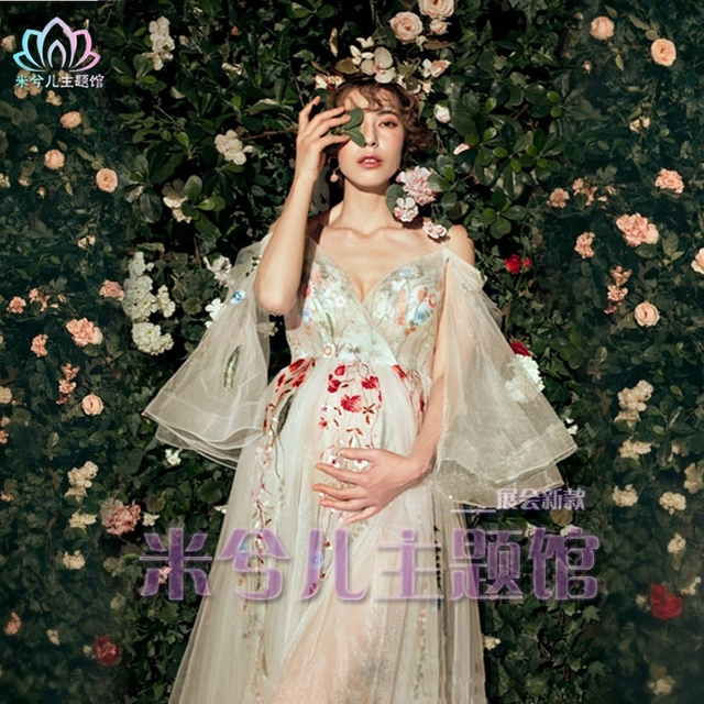 NEW Pregnant Maternity Women Photography Fashion Props Dress Romatic Fancy  Baby Shower Free shipping Flower dress 10d6039080