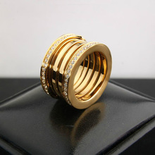 Marca de lujo Clásico de la boda amor de acero de titanio anillo anillo de pareja anillo de compromiso Circón 3A Roscado con logo y caja de regalo