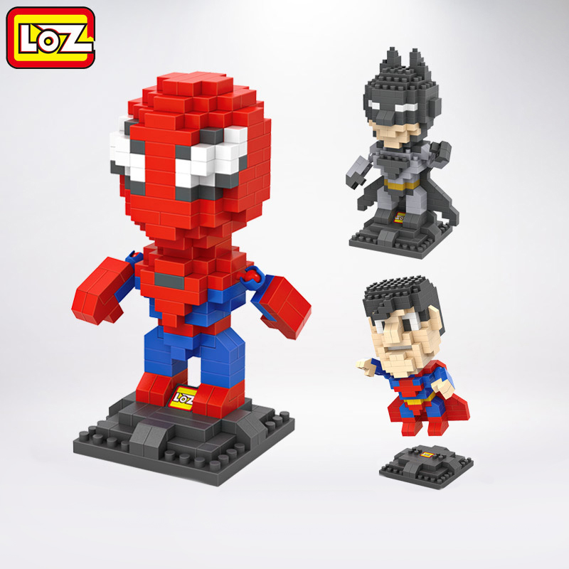 loz toys super heroes blocks Batman Spider Man brinquedos juguetes kids toys building blocks anime figure toys for children loz dc comics super heroes mini diamond building block batman
