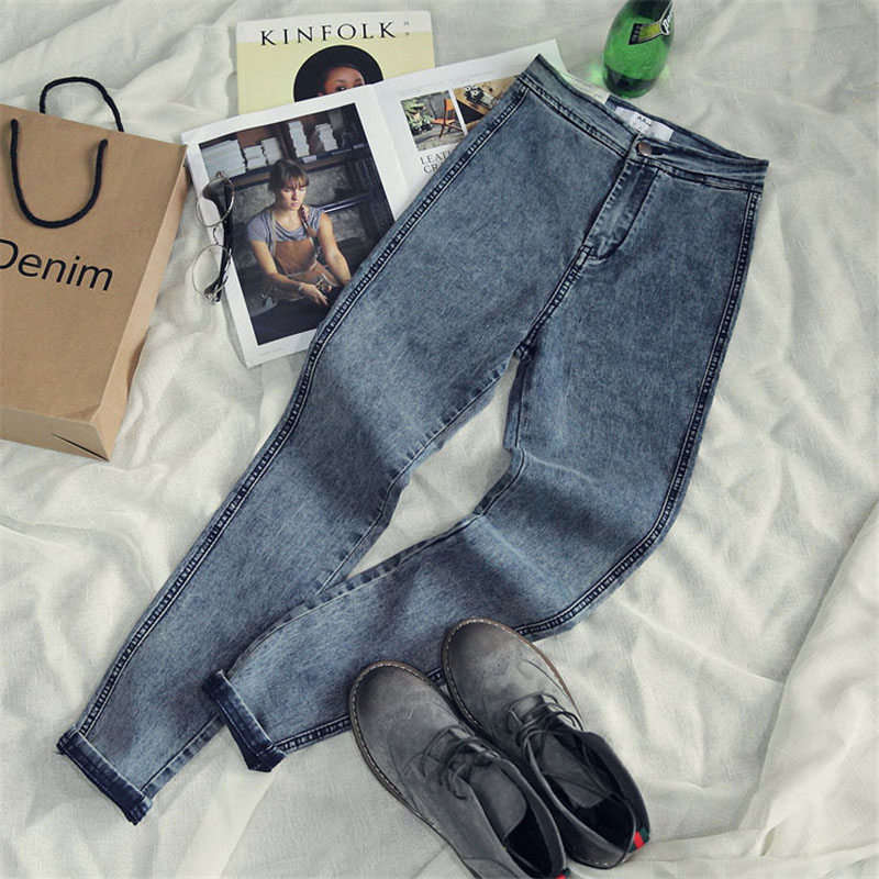 c48029480c Alta cintura Jeans para las mujeres Casual Stretch Mujer lápiz Jeans Lady  Vintage Denim Pantalones Slim flacos elásticos 2017 primavera