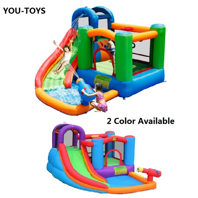 YOU TOYS Inflatable Bounce Slide Water Park Pool With Big Water Gun Bounce  House For