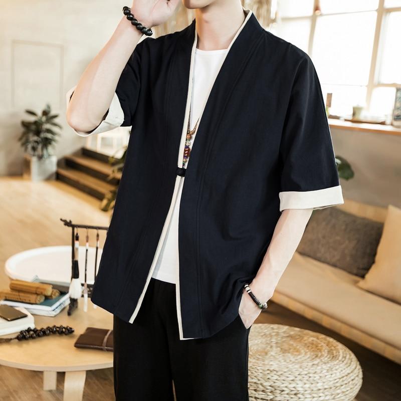 Image 4 - 2019 Men Cotton Linen Jacket China Style Kongfu Coat Male Loose Kimono Cardigan Overcoat Open Stitch Coat Mens Windbreaker 5XL-in Jackets from Men's Clothing