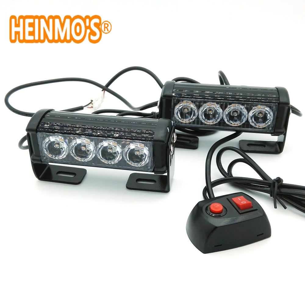 2 * 4 LED aluminium led flitslamp slitless stick lamp lamp high power daklichten auto vrachtwagen led stroboscoop