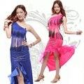 Sexy Vestido de Dança Latina para As Mulheres Borlas Ombro Inclinado Competição Ballroom Rumba Salsa Gargantilha Traje Cauda de Andorinha Saia LD264