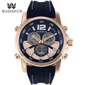 2016 Casual Mens Watches Dual Time Display Top Brand Luxury Rose Golden Dial Silicone Strap Men Gifts Sports Wristwatch WS1162